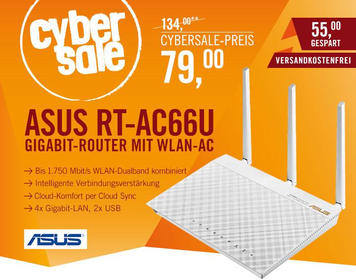 ASUS AC1750 RT-AC66U für 79€ in weiß @ Cyberport Cybersale - Dualband WLAN-ac Router