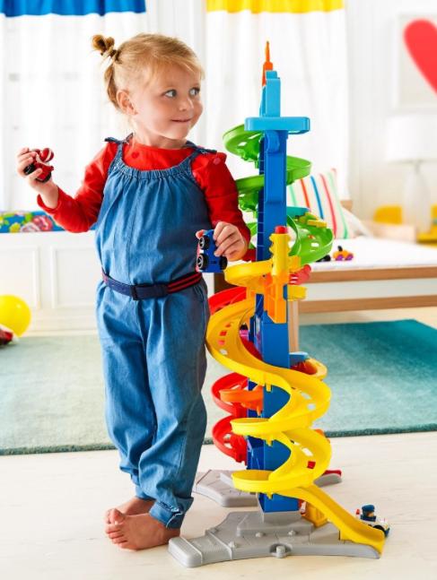 [Amazon + buch.de] Mattel Fisher-Price - Little People Hochhausrennbahn, 90 cm für 32,99€ statt ca. 37€