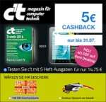 """5 c't-Ausgaben ( Heft oder Digital) + 15€ OBI Gutschein + 5€ Cashback (5,25 EUR """"Gewinn"""")"""