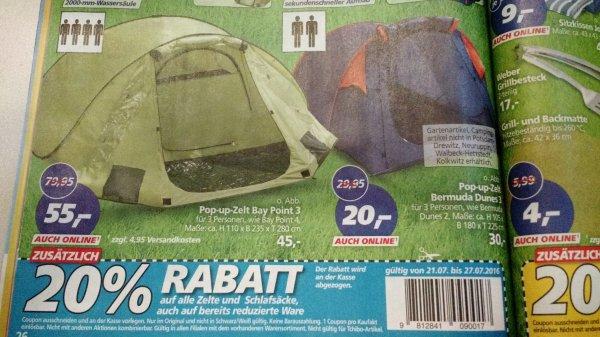 [real,- bundesweit] Günstige Wurfzelte + 20% zusätzlich auf alle Zelte und Schlafsäcke