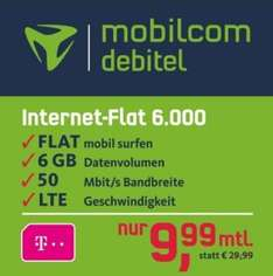 mobilcom-debitel Internet-Flat 6.000 im Telekom-Netz für 9,99€/ Monat LTE (50 MBits/Sek,)