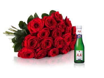 Update: 20 rote Rosen (Red Naomi) + Piccolo Sekt für 18,40€ bei [Miflora]