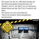 [Lokal Samsung Store Frankfurt Zeil] Samsung Galaxy S7 - 19% Rabatt auf alle Samsung Handys und Tablet