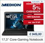 "[Medion] MEDION® ERAZER® P7643 (MD 99496) /  i7-6500U / GTX 950M / 128 GB SSD / 1TB HDD /  Mattes 43,9 cm/17,3"" LED-Backlight-Display FHD / 8GB RAM + 5% qipu"