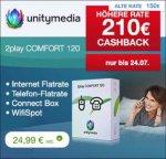 unitymedia - 210€ cashback für 2play comfort 120