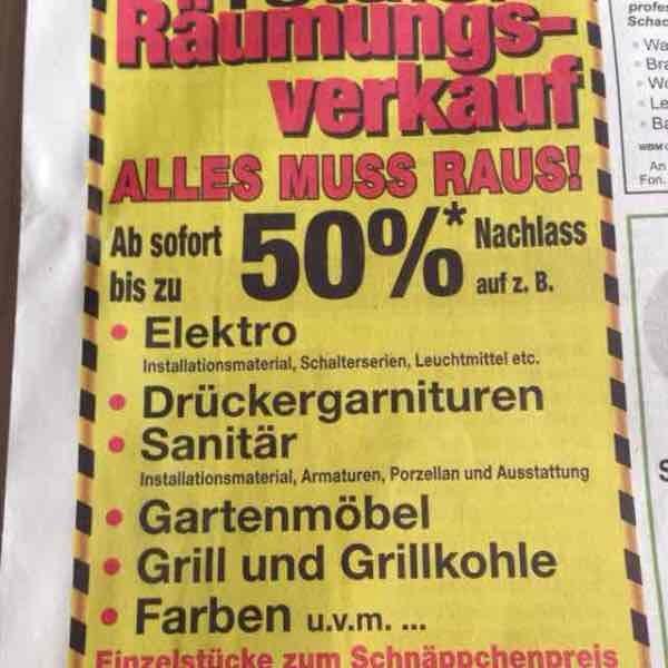 [Lokal Nördlingen] Schurrer Baufachmarkt schließt (70%)