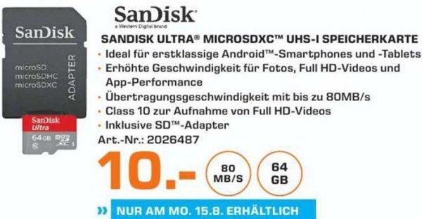 [Lokal Saturn Erlangen/Tagesangebot am 15.08] SanDisk Ultra microSDXC 64GB 80MB/s, Class 10 Speicherkarte + Adapter für nur 10,-€