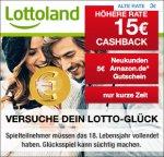 Lottoland: 15€ Cashback + 5€ Amazon.de Gutschein für Neukunden über QIPU