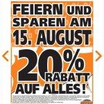 20 % auf alles bei Globus Baumarkt in Zweibrücken am 15.08. -Feiertag in Frankreich und im Saarland