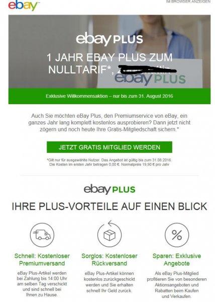 Kostenlose Ebay Plus für ein Jahr bis 31.08.16 abschließen