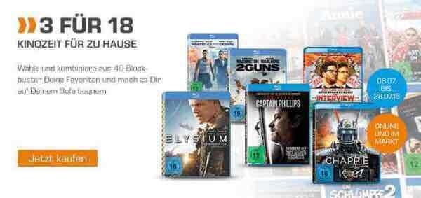 3 Blu-Rays Für 18€ bei Saturn online gültig bis 28.07.