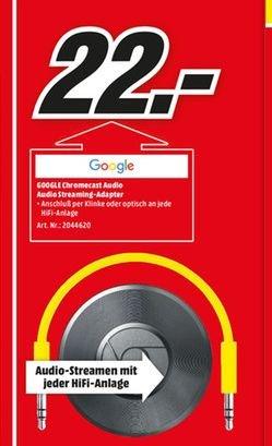 [Lokal Mediamarkt Alzey] Google Chromecast Audio, Streaming-Gerät, Wireless Lan, USB für nur 22,-€