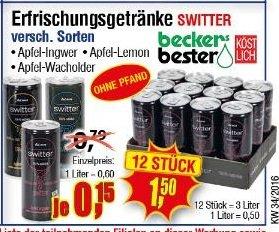"""[Center Shop ab 22.08.] """"Beckers Bester Switter"""" Apfel-Ingwer/Apfel-Lemon/Apfel-Wacholder 12x0,25 l Dosen für insg. 1,50 € pfandfrei"""