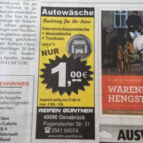 "Autowäsche ""Badetag fürs Auto in Osnabrück (Lokal)"""