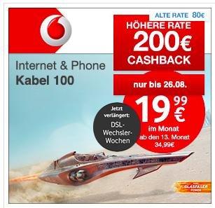 [Shoop] Vodafone Internet & Phone Kabel 100 für effektiv 18,74 Euro im Monat (2 Jahresvertrag)