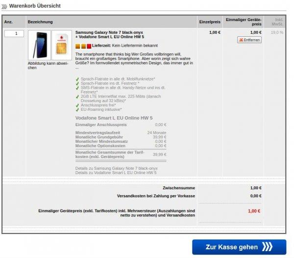 Samsung Galaxy Note 7 + Vodafone Smart L EU 960,76 EUR