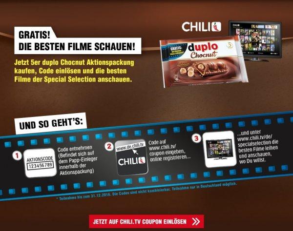 Duplo Chocnut 5er Aktionspackung kaufen und 1 Chili.tv Gutschein erhalten für ein 48h-Streaming für 1 von 270 zur Auswahl stehenden Filmen