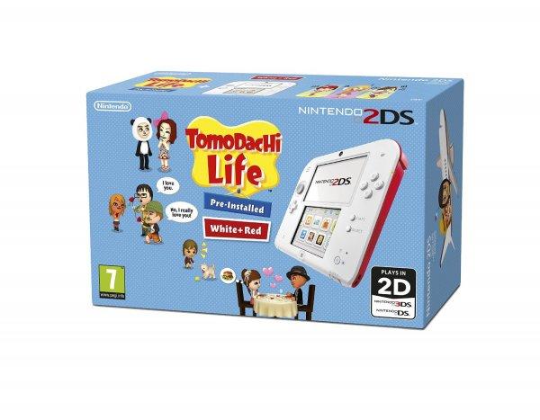 """Nintendo™ - Konsole """"2DS"""" (Weiß/Rot) inkl.Tomodachi Life (vorinstalliert) für €83,90 [@Amazon.co.uk]"""