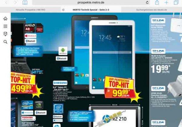 Galaxy Tab E für 118,99€ bei Metro, VGP ab 148,90€
