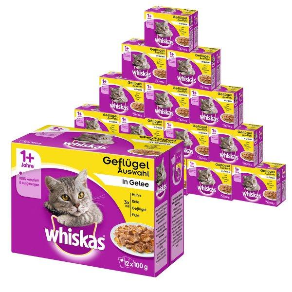 Whiskas Katzenfutter 1+ Geflügelauswahl in Gelee Mega Multipack 192x100g [eBay WOW]