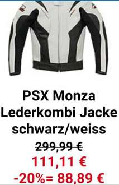 Hein Gericke 20% extra auf SSV z.b. PSX Monza Lederkombi Jacke schwarz/weiss 88,98€ Alle Größen