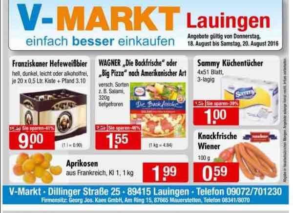 Franziskaner Hefeweißbier - Kiste 9,00 € (Lokal, V-Markt, Lauingen)