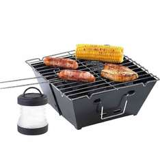 Camping-Grillset: Faltbarer Klappgrill und Mini-Campingleuchte