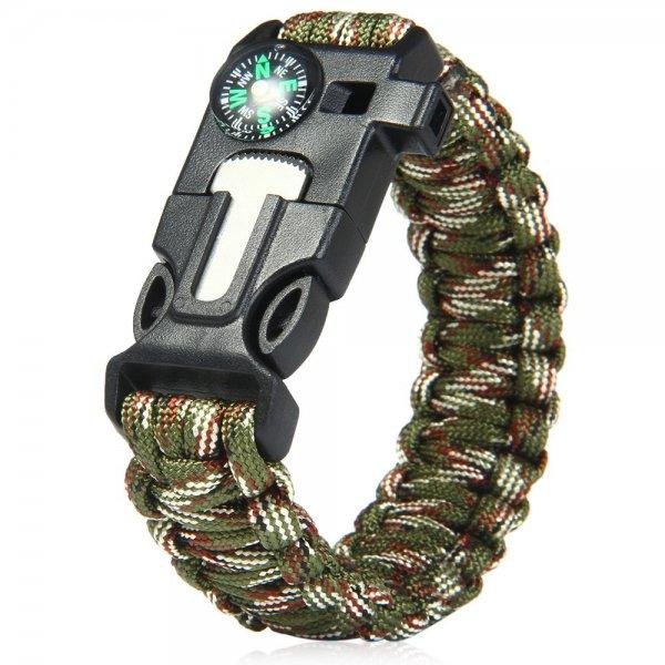 5 en 1 Extérieure Équipement de Survie Échapper Paracord Bracelet Flint / Whistle / Boussole / Gratte