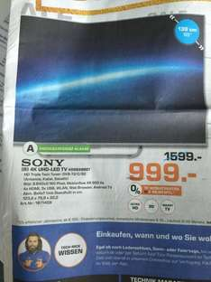 (Lokal Saturn Leverkusen) Sony KD55C8507 CBAEP (Flat, 55 Zoll, UHD 4K, 3D, SMART TV, Android TV)