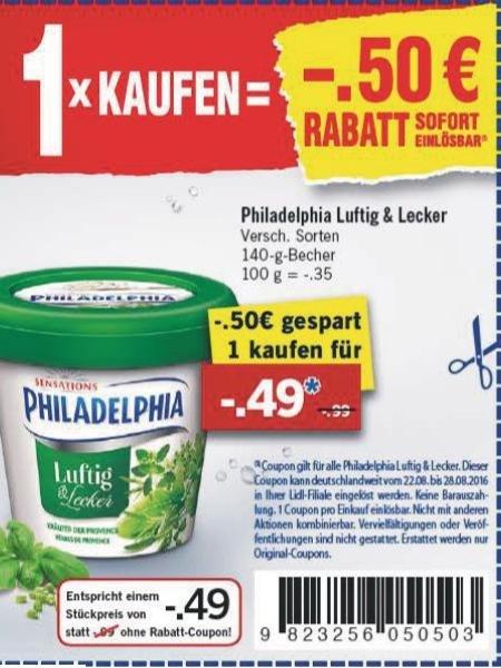 Philadelphia Luftig & Lecker für 49 Cent mit Coupon