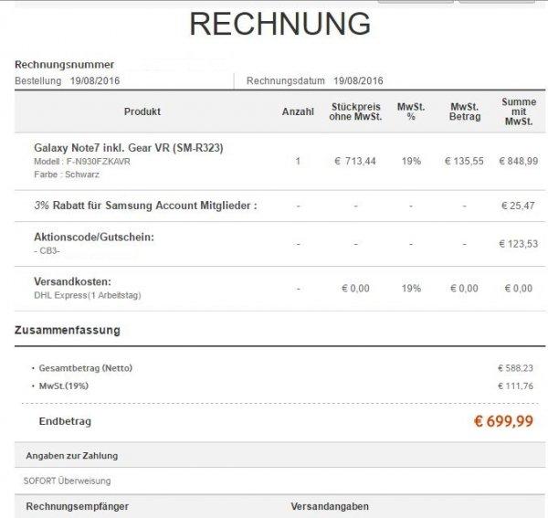 Samsung Galaxy Note 7 inkl. GEAR VR 699,99€ Samsung Online Shop (Gutschein)