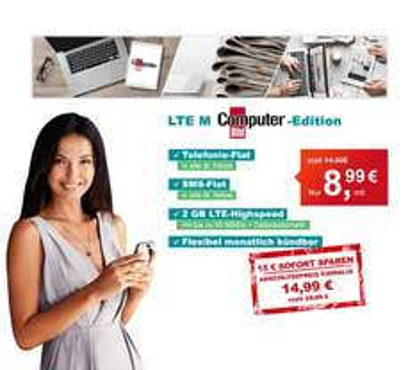 Hellomobil 2GB LTE Allnet Flat im O2 Netz - Monatlich kündbar für 8,99 € (ComputerBild Aktion)