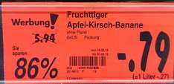 Kaufland Werl [Lokal] Fruchttiger Apfel-Kirsch-Banane 6-Pack nur 79 cent abverkauf(Preisfehler?)