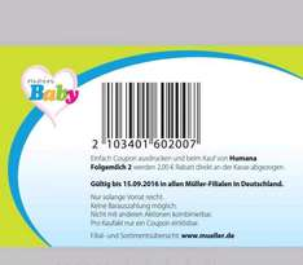 MÜLLER 1 Sofort-Rabatt-Coupon auf Humana Folgemilch 2.