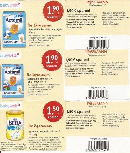 Rossmann Coupons. Aptamil 1+2   1,90€   Beba Pro  1,50€