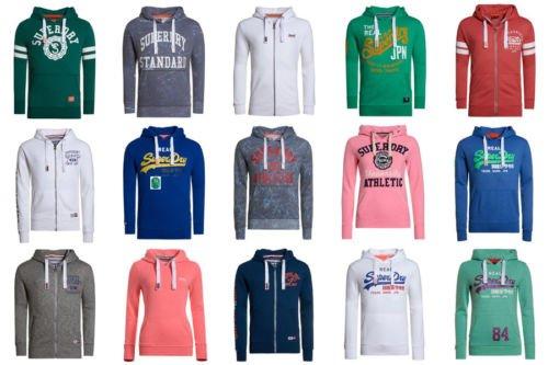 Superdry Kapuzenpulli Hoodies  und Sweatshirts für Frauen und Männer versch. Modelle und Farben [Ebay]