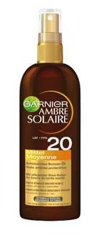 Garnier Ambre Solaire Sonnen-Öl Spray LSF 20, 3er Pack (3 x 150 ml)  [Amazon Prime]