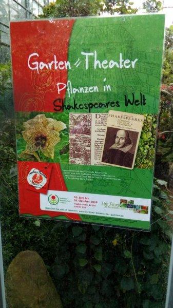 """Köln : Flora - Garten Theater"""" Planzen in  Shakespeares Welt"""" - freier Eintritt - täglich von 10 bis 18 Uhr geöffnet - bis 3.10.2016"""