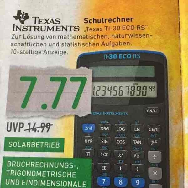 Texas Instruments TI-30 Eco RS Taschenrechner für 7,77€ | Marktkauf Gütersloh