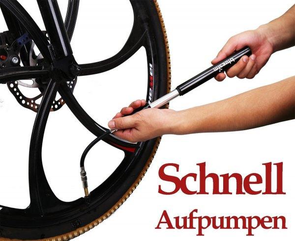 Fahrrad-Minipumpe mit Montagekit für Fahrrad mit bi zu 18bar amazon prime