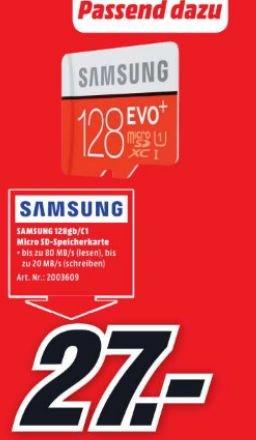 [Lokal Mediamarkt Berlin-Alexa] Samsung 128GB EVO+ microSD Speicherkarte 80MB/s [+SD-Adapter] für 27,-€
