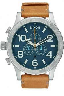 Nixon 51-30 LEATHER - Chronograph - navy/saddle