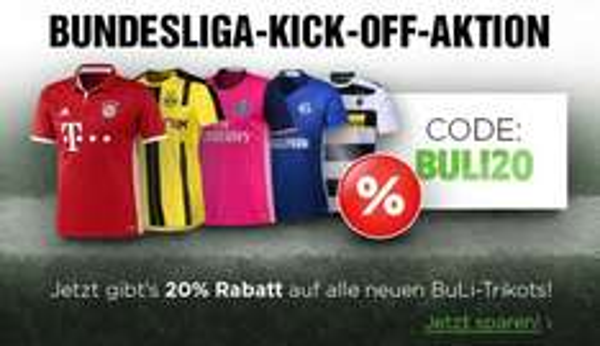 20% Rabatt auf alle neuen Bundesliga Trikots