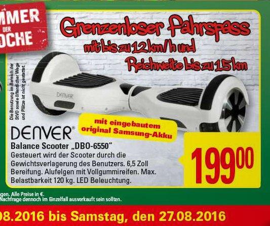(Marktkauf) Denver DBO-6550 Balance Scooter/Board 199€ mit Samsung Akku