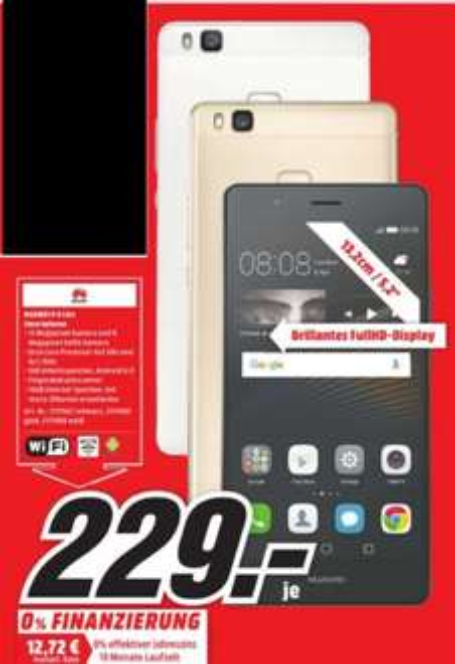 [Lokal Mediamarkt Würzburg] Huawei P9 Lite,(5,2 Zoll) Display, LTE (4G), Dual-Sim, 3GB Ram, Fingerabdrucksensor,Android 6 (Marshmallow),alle Farben für je 229,-€