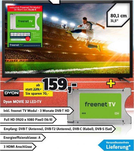 DYON MOVIE 32 Full HD Tripple Tuner 152,50 VK!!!! inkl. FREENET TV MODUL (Wert 79,99 €) für 192,50!!