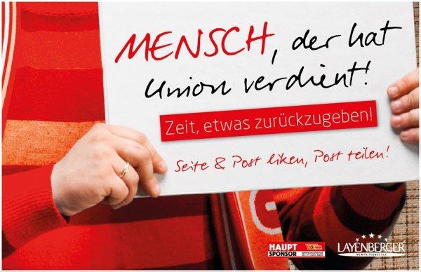 """[Facebook] 100 Tickets für Union Berlin - Karlsruher SC / Aktion """"Mensch, der hat Union verdient"""""""