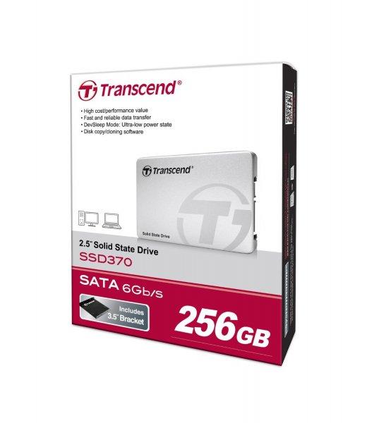 Transcend SSD370S interne SSD 256GB (6,4 cm (2,5 Zoll), SATA III, MLC) 570 MB/s Lesen, 320 MB/s Schreiben mit Aluminium-Gehäuse silber für 71,90€ @Amazon.de Blitzangebote