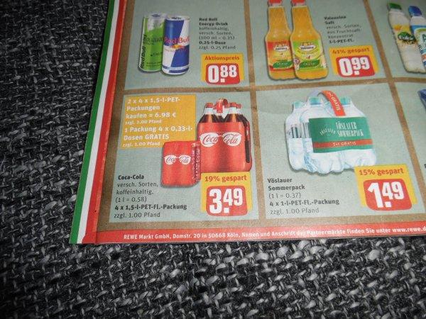 REWE bundesweit? Coca Cola 8x 1,5Liter Kaufen für 6,98€ 4x 0,33 Liter Dosen geschenkt + 6,- € Pfand