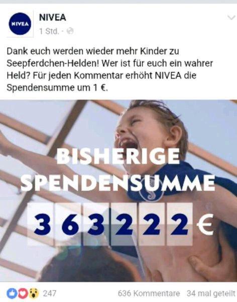 Für jeden Kommentar spendet Nivea der DLRG zusätzlich 1€